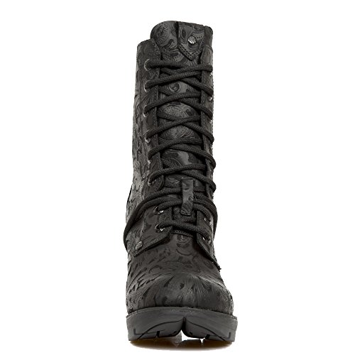 Nuovi stivali da roccia neri in Vintage-Design con Lacing e tacco alto nero dalla New Rock Trail Collection.