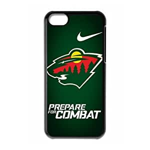Design-3 Sports NHL Minnesota Wild Logo Print Black Case With Hard Shell Cover for Apple iPhone 5C