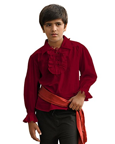 ThePirateDressing Kids Pirate Medieval Renaissance Medieval Cosplay Costume 100% Cotton Captain Kennit Shirt C1255 (Maroon) (Large)