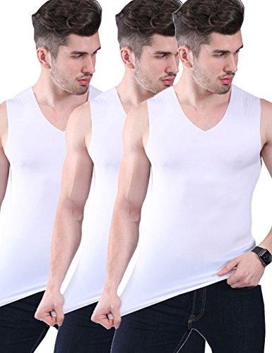 Men's 3 Pack Ice Silk Undershirts T Shirt V Neck Fitness Tank Tops Vest (White+White+White, Tag 3XL=US XL) Mens Silk V-neck