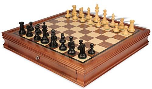 (British Staunton Chess Set in Eboninzed-Boxwood with Walnut Chess Case - 3.5