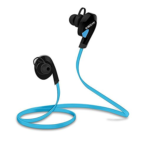 Amazon Lightning Deal 73% claimed: KSCAT NICE17 Bluetooth Headphones Wireless Stereo Earphones with Mic for Running ,6 Hours Play Time, Bluetooth V4.1, Sweatproof, Secure Ear Hooks Design-Blue