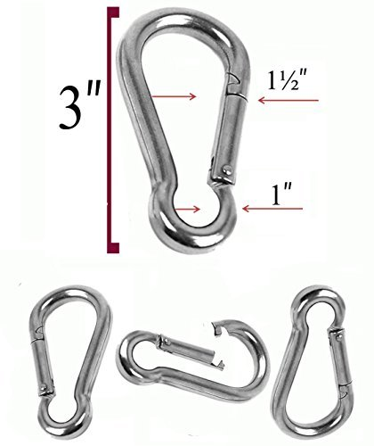 Set of 4 - 3 Inch Stainless Steel 304 Spring, Snap, Link, Hook, Clip Carabiner-Keychain, Keyring/Camping/Fishing/Traveling/Hiking/dog leash...etc.. Set of 4 (Not used for climbing) by soanhc