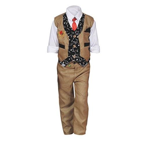 41GfFDwx3zL. SS500  - ahhaaaa Boy's Blended Waistcoat, Shirt and Trouser Set