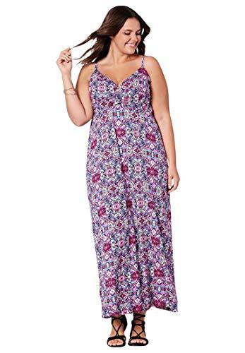 Ellos Women's Plus Size Knit Surplice Maxi Dress - Deep Pink Multi Print, S