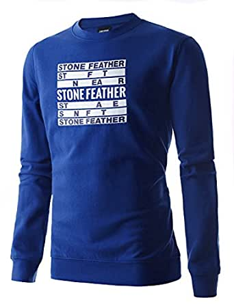Stone Feather Men's raglan?sleeve Blue Premium Cotton Tshirt(S)