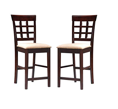 "Gabriel 24"" Wheat Back Bar Stools with Fabric Seat Cappuccino and Tan (Set of 2)"