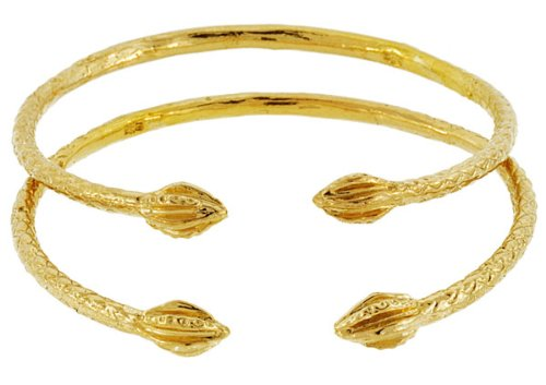 - BABY Solid Sterling Silver West-Indian Bangle Set w. Tulip Ends - Plated with 14K Gold (MADE IN USA)