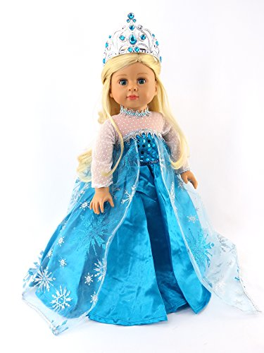 Living Doll Costume Ideas - Queen Elsa Inspired Dress with Crown Costume Gown | Fits 18