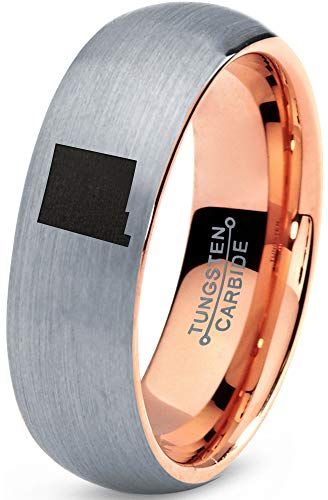 (Zealot Jewelry Tungsten New Mexico The Land of Enchantment State Band Ring 7mm Men Women Comfort Fit 18k Rose Gold Dome Brushed Gray Polished Size)