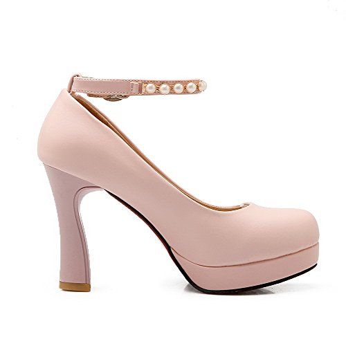 Toe 33 Shoes Pumps High Buckle PU AllhqFashion Round Closed Heels Womens Pink Solid O7wqxvzI