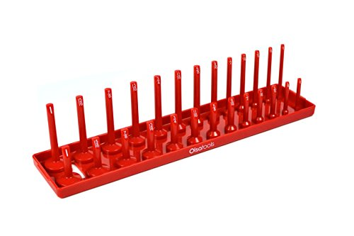 Olsa Tools | 3/8-Inch Drive Socket Organizer Tray | Red SAE Socket Holder | Premium Quality Tool Organizer