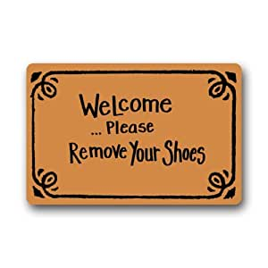 Elegant pattern funny quotes welcome doormat welcome please remove your shoes - Remove shoes doormat ...