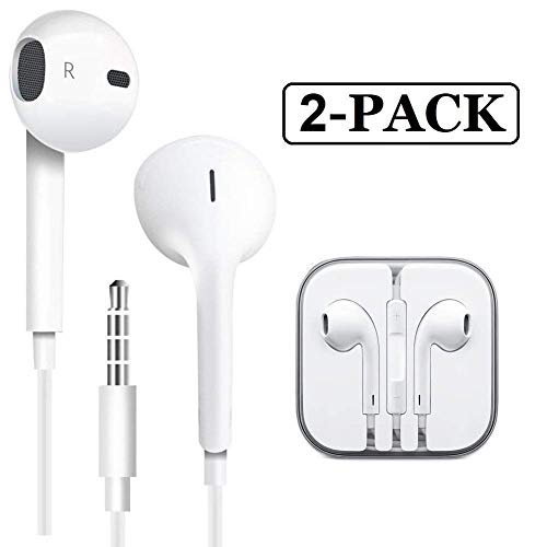 PUJIN 2 Pack Premium Earphones/Earbuds/Headphones Stereo Mic Remote Control Compatible Apple iPhone 6s 6 Plus 5s 5 SE 5c iPad iPod 3.5 mm (White)
