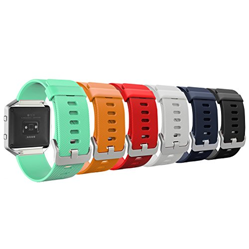 MoKo Fitbit Blaze Band, [6 PACK] Colorful Soft Silicone Adjustable Replacement Band Straps for Fitbit Blaze Smart Fitness Watch, Wrist Length 5.90''-8.26'', 6PCS (Multi-Colors) by MoKo