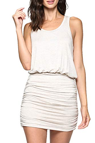 LaClef Women's Mini Ruched Tank Shift Dress (Oatmeal, M) ()