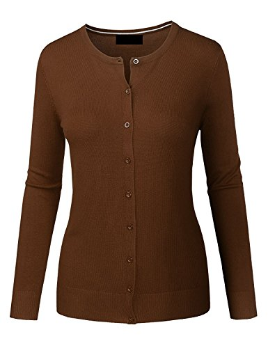 MAYSIX APPAREL Plus Size Long Sleeve Lightweight Button Down Round Neck Knit Sweater Cardigan For Women MOCHA 2XL