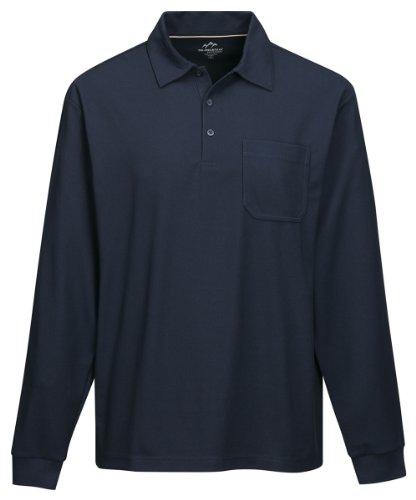 Tri Mountain Mens 100  Polyester Knit L S Golf Shirt   Navy   3Xlt