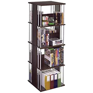 Atlantic Typhoon Media Tower Spinner - Optical disc stand (Madera, Café expreso, Plata)