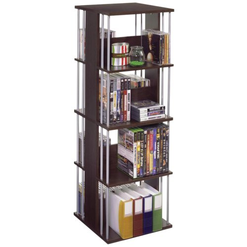 - Atlantic Typhoon Media Spinner Unit - Fully Rotates 360 Degrees on a Ball Bearing Base, Holds 216 CDs, 144 DVDs, 4 Fixed Shelves, PN82635716 in Espresso