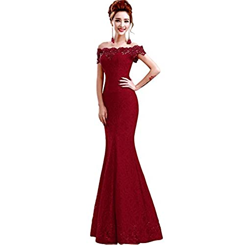 Babyonlinedress off shoulder mermaid lace burgundy Prom dress size 6