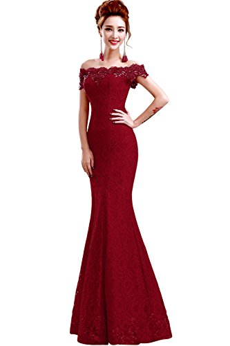 (Babyonlinedress Off Shoulder Mermaid lace Burgundy Prom Dress)