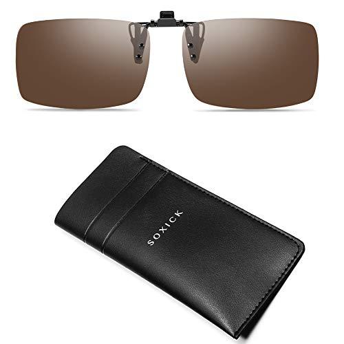 SOXICK Clip on Polarized Rimless Sunglasses - Flip Up Sunglasses for Prescription Glasses ()