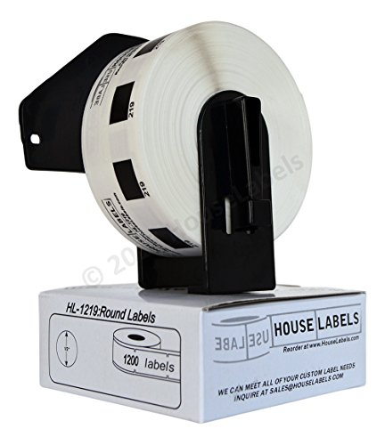 1 Roll of BROTHER-Compatible DK-1219 Small Round Labels (Diameter 1/2 / 12mm; 1200 Labels per Roll) -- Including ONE (1) Reusable Black Cartridge -- BPA Free!