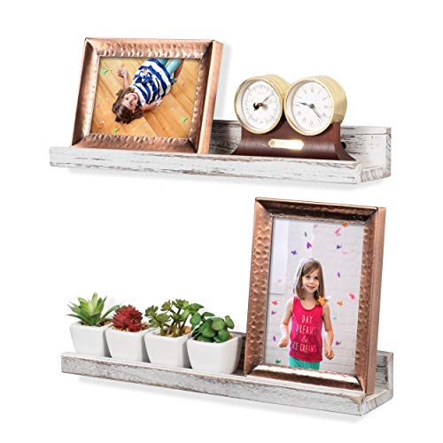 Rustic State Ted Wall Mount Narrow Picture Ledge Shelf Display | 17 Inch Floating Wooden Shelves Washed White Set of 2 ()