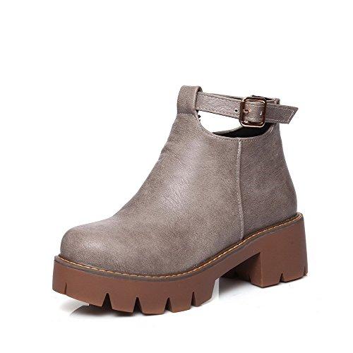 VogueZone009 Damen Blend-Materialien Mittler Absatz Rund Zehe Reißverschluss Stiefel, Braun, 41