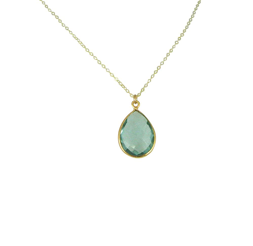 22k Gold plated over Sterling Silver Necklace with Aqua Quartz Teardrop Gemstone Pendant