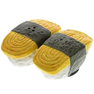 JAPANESE TAMAGO EGG CERAMIC MAGNETIC SALT PEPPER SHAKERS