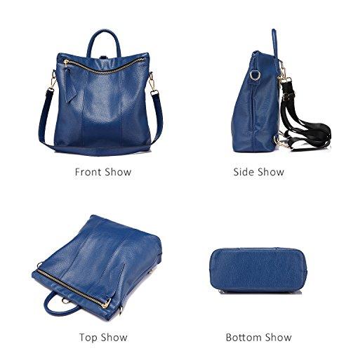Femmes Cuir Main Noir Femme Véritable Grande Casual Elégant Sac En Mode Dos College À Cartable Bleu Sacs q08xwgIU