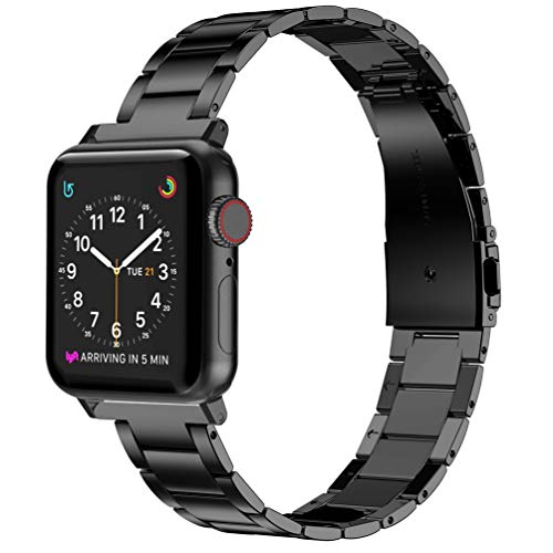 Wearlizer Stainless Steel Compatible with Apple Watch Band 38mm 42mm Women Men,Ultra-Thin Lightweight Replacement Band…
