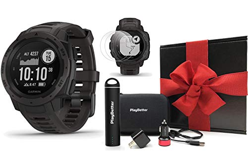 Garmin Instinct (Graphite) Outdoor GPS Watch Gift Box Bundle | with PlayBetter Portable Charger, USB Car & Wall Adapters, Hard Case | Rugged GPS Watch | Heart Rate | Black Gift Box, Red Bow