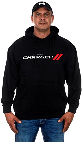 JH DESIGN GROUP Mens Dodge Charger Hoodies with Exclusive American Flag Sticker (Large, GEN3-black)