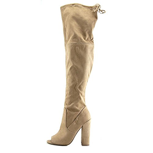 Knee Nude Madden Toe Boots Elliana The Over Suede Open Steve Womens Faux RZzWx4HHU