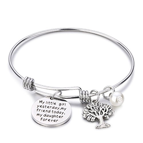 Daughter gifts My little girl yesterday my friend today my daughter forever Inspirational Bangle Bracelets Tree of Life Bracelet