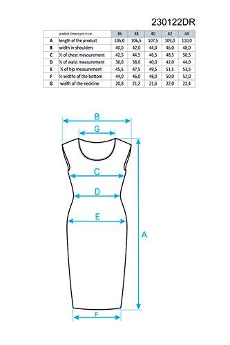 Ennywear 230122 Vestido Lápiz Midi Sin Mangas Escote Redondo Para Mujeres Cremallera - Hecho En La UE negro-menta