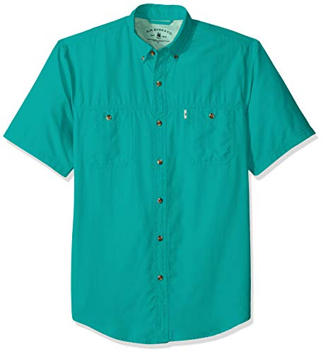 G.H. Bass & Co. Men's Explorer Short Sleeve Button Down Fishing Shirt, Caribbean sea, X-Large