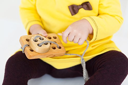 Educational, Eco-Friendly, Lacing Button Toy by Pawoo: Constructive, Wooden, Plaything for Toddlers, Young Children & People in Memory Care - Classic & Traditional, Handmade Tool to Boost Learning