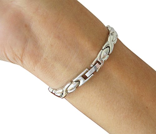 Ladies Magnetic Bracelet Silver Finish Natural Pain Relief Therapy by Mind n Body by Mind n Body (Image #3)