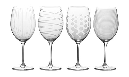 Set 4 Etched Wine Glasses (Mikasa Cheers Bordeaux Red Wine Glass, 24-Ounce, Set of 4)