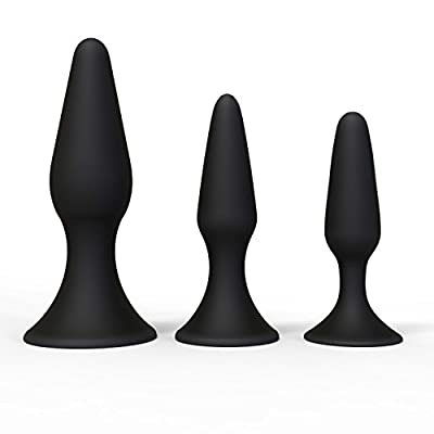 Silicone Butt Plug Kit by Healthy Sex 3 Pack, Black - Anal Sex Beginner Set Helps Train Rectum for More Comfortable Intercourse Anal Toy with Suction Cup Base