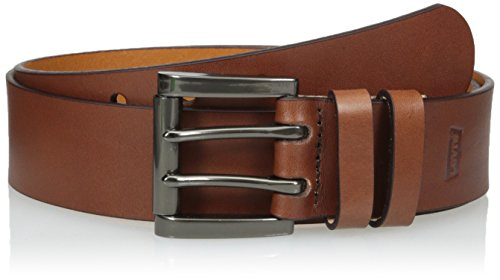 (Levi's Men's Work Belt - Heavy Duty Thick Wide Soft Leather Strap with Silver Double Prong Buckle, Tan, 40)