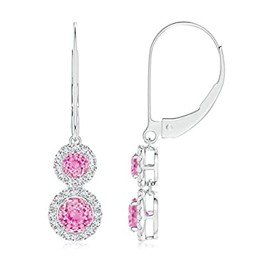 Angara Two Tier Pink Sapphire Leverback Earrings with Diamond Halo Sqz3V7