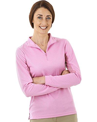 Ovation Women's Lds Cool-Rider Zip-Mock Shirt Pink Medium US