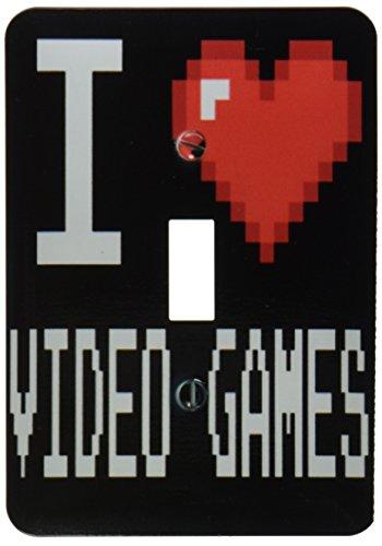 3dRose lsp_118950_1 Geeky Old School Pixelated Pixels 8-Bit I Heart I Love Video Games Light Switch ()