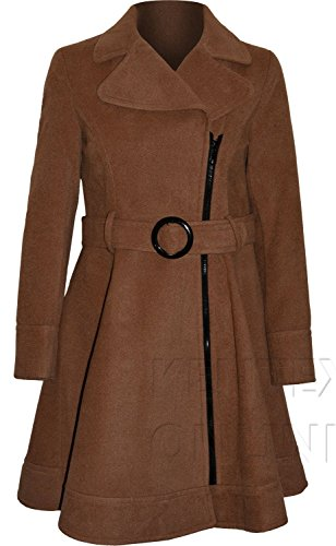 Vicky Smith London Women's Wool Tweed Fit And Flare Zip Belted Coat 10 Beige Belted Tweed Coat