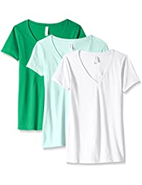 Women's 3-Pack Short Sleeve T Shirt Easy Tag V Neck Soft Cotton Blend Undershirts (1540)